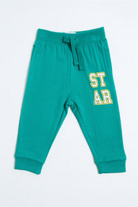 Green Star Print Knit Jogger