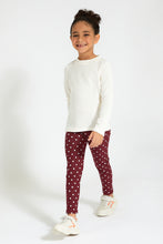 Load image into Gallery viewer, Burgundy Polka Jegging