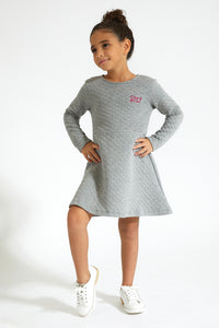 Grey Quilted Dress with Lurex
