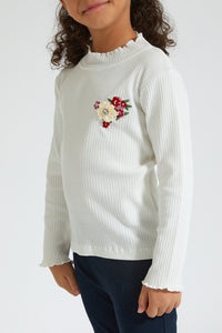 Cream High Neck Rib T-Shirt with Embroidery