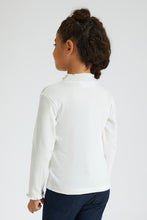 Load image into Gallery viewer, Cream High Neck Rib T-Shirt with Embroidery