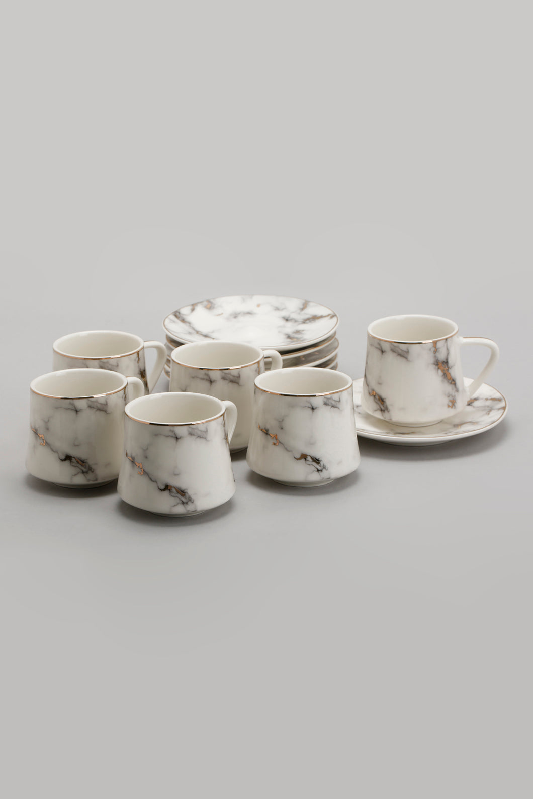 White Marble Pattern Tea Set (12 Piece)
