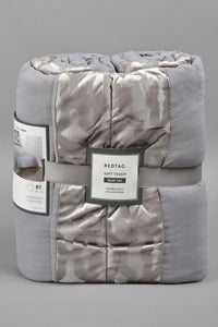 Grey Patchwork 3-Piece Bedspread Set (Single Size)