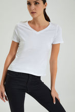 Load image into Gallery viewer, White V Neck Plain T-Shirt