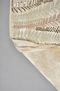 Beige Premium Embellished Velvet Cushion