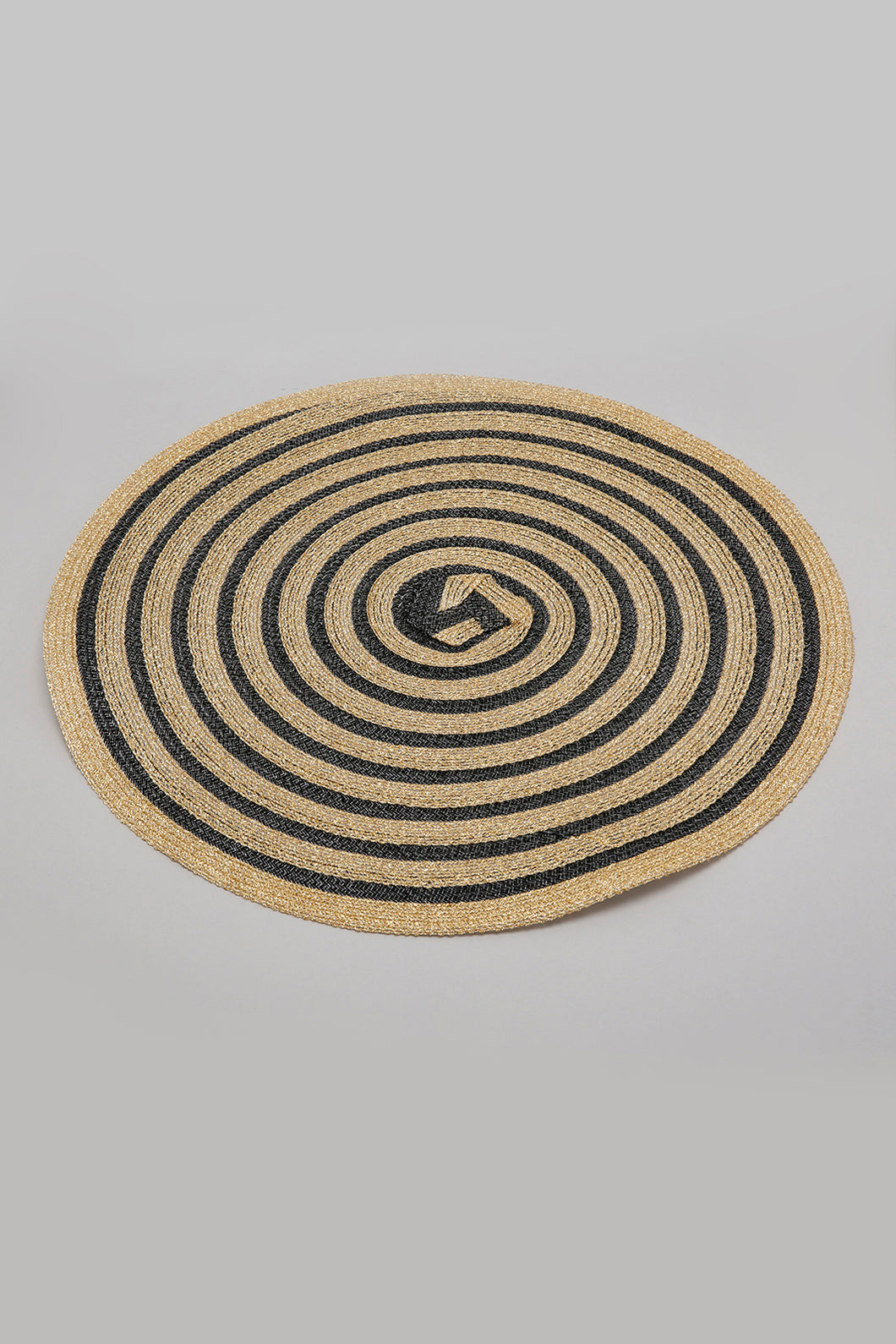 Gold/Black Round Woven Placemat