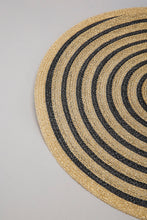 Load image into Gallery viewer, Gold/Black Round Woven Placemat