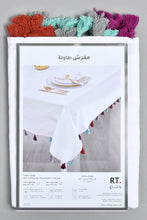 Load image into Gallery viewer, White Tablecloth with Assorted Fringes (225cm x 145cm)