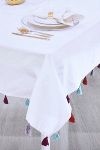 White Tablecloth with Assorted Fringes (225cm x 145cm)