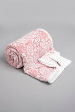 Load image into Gallery viewer, Pink Embossed Sherpa Reversible Blanket (Double Size)