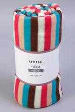 Load image into Gallery viewer, Multicolour Stripe Print Fleece Blanket (Single Size)
