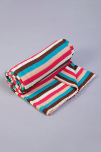 Multicolour Stripe Print Fleece Blanket (Single Size)