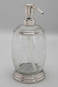 Silver Crackle Glass Lotion Bottle