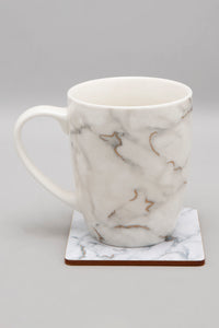 White Marble Print Mug And Coaster (2 Piece Set)