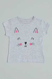 Grey Cat Graphic Printed T-Shirt
