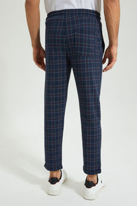 Navy Check Ankle Length Jogger