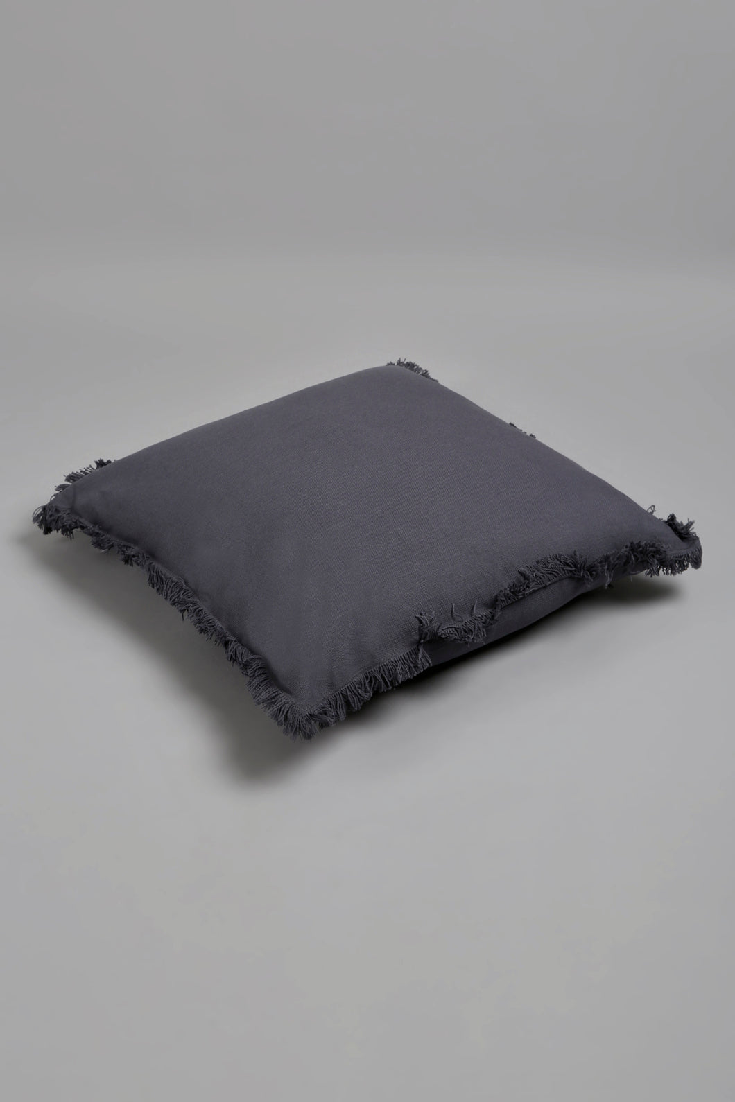 Grey Floor Cushion with Fringes