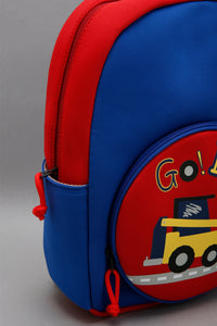 Blue And Red Printed Backpack