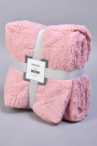 Pink Faux Fur Reversible Throw