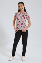 Load image into Gallery viewer, Pink Floral Polka Dots Jacquard T-Shirt