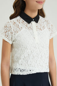 White With Black Collared Lace Top