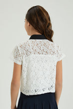 Load image into Gallery viewer, White With Black Collared Lace Top