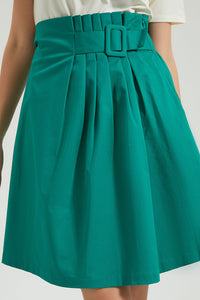 Green Pleated Skirt With Buckle