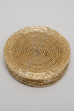 Load image into Gallery viewer, Gold Round Beaded Coaster Set (6 Piece)