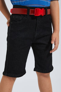 Black Belted Five Pocket Short
