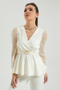 White Wrap Peplum Blouse With Mesh Puff Sleeve