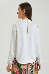 Ivory Blouse With  Buttons On Shoulder