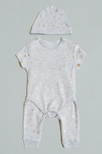 Grey Star Printed Bodysuits Set With Hat (Pack of 3)