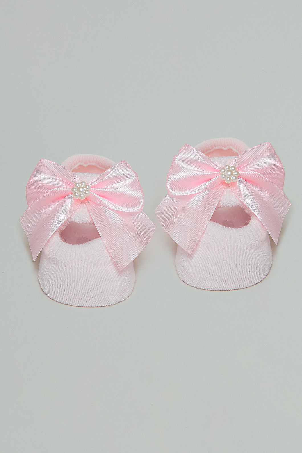Pink Pair Of Baby Booties With Bow