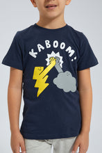 Load image into Gallery viewer, Navy Kaboom Printed T-Shirt