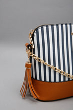 Load image into Gallery viewer, White/Navy Nautical With Tassel Trim Cross Body Bag