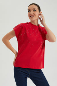 Red Studded T Shirt