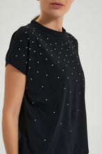 Load image into Gallery viewer, Black Studded T Shirt