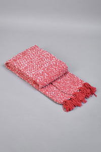 Red/White Textured Throw