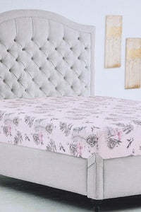 Pink Floral Print Fitted Sheet (King Size)