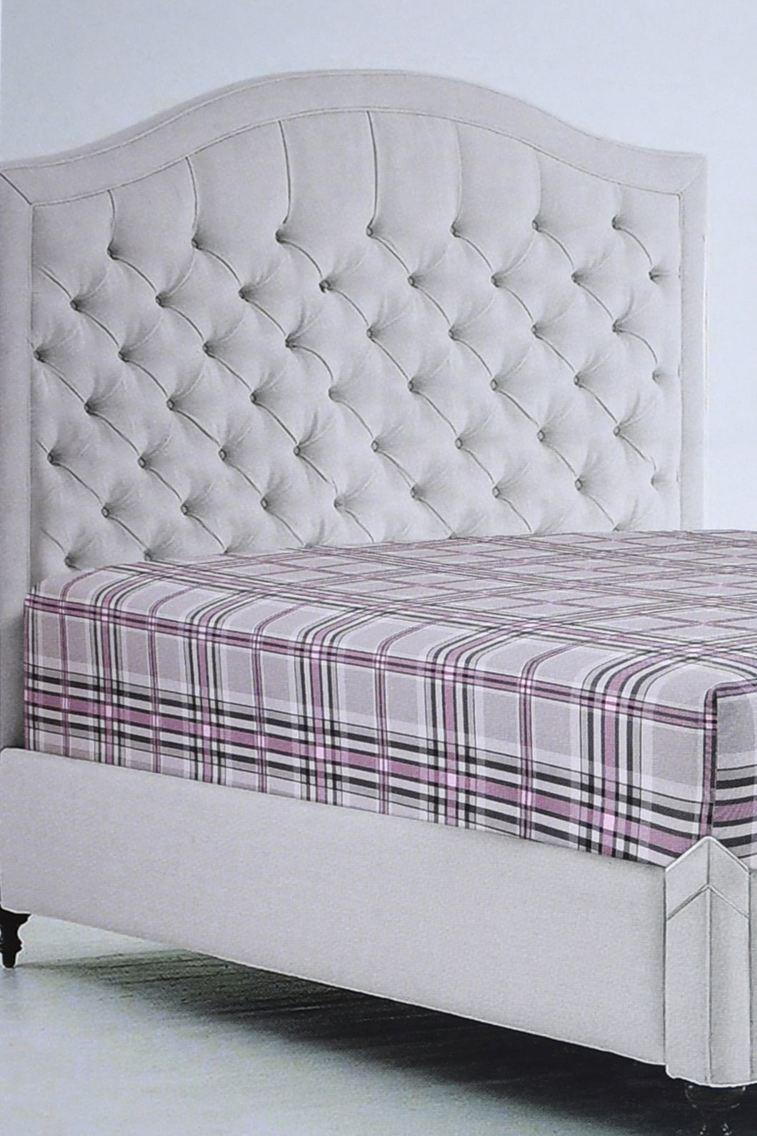 Grey\Pink Check Fitted Sheet (Super King Size)