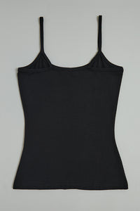 Black Plain Strappy Vest