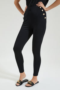 Black Legging With Metal Buttons