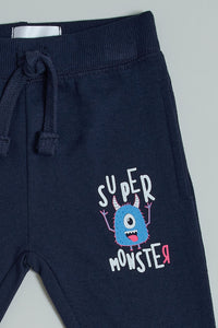 Navy Super Monster Printed Jogger