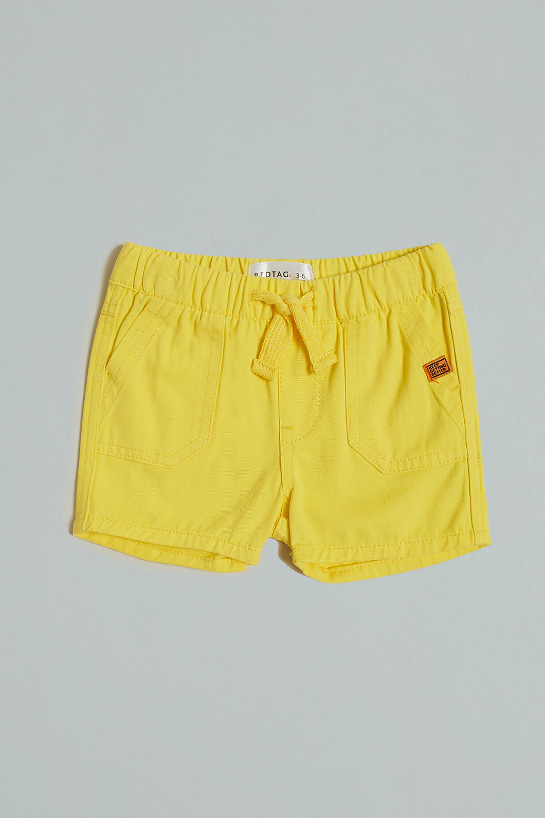 Yellow Pull With Rib Waistband Short