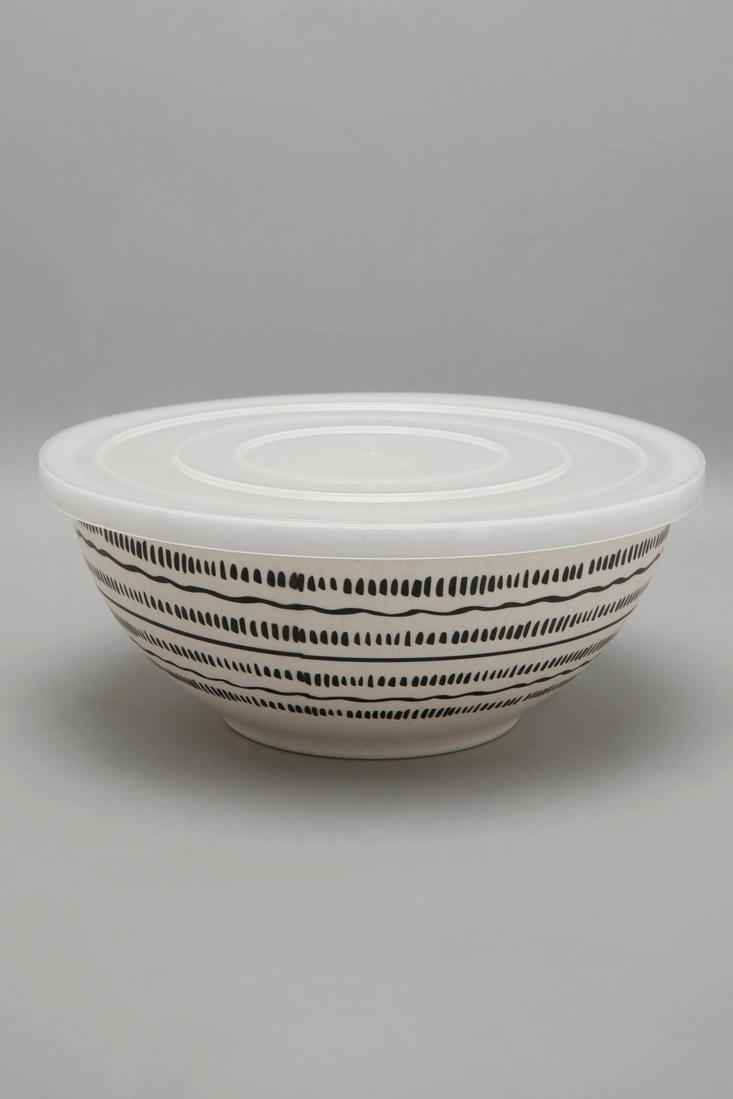 Black/White Geometric Bowl With Lid (Large)