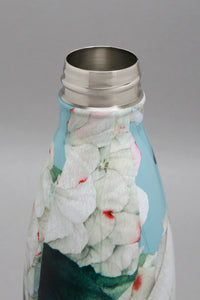 Teal Floral Print Stainless Steel Water Bottle