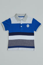Load image into Gallery viewer, Blue Striped Colour Block Polo T-Shirt