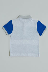 Blue Striped Colour Block Polo T-Shirt
