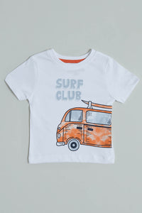 White Surf Club Print T-Shirt