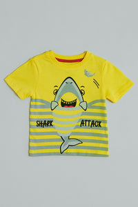 Yellow Shark Attack Print T-Shirt